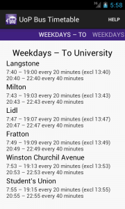 UoP Bus Timetable Screenshot